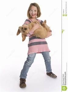 Little Girl Carrying Pet Dog Stock Photo - Image: 15369074