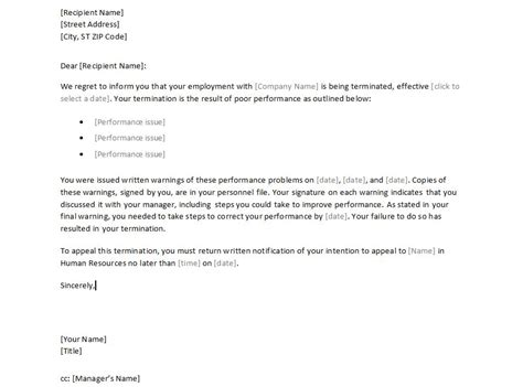 sample employee termination letter termination letter