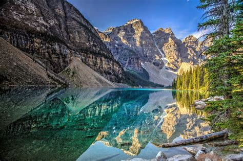 High Resolution Fall Foliage Pictures Lake Mountains Trees Landscape Lake Moraine Canada Alberta Banff National Park Reflection