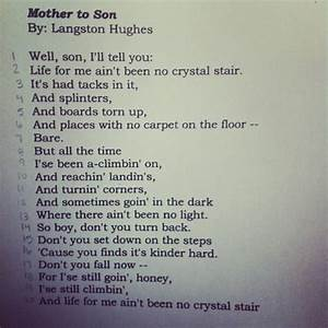 Mother to son langston hughes lesson plan