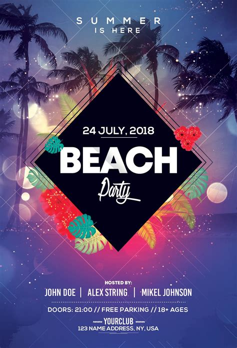 """Find & download free graphic resources for event poster. Check out my @Behance project: """"Beach Party - PSD Flyer Template"""" https://www.behance.net ..."""