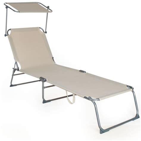chaise longue avec pare soleil tectake chaise longue pliante bain de soleil avec parasol