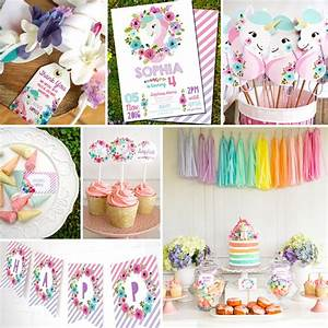 Unicorn Birthday Party Decorations Watercolor Floral