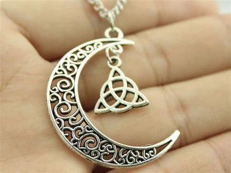 crescent moon necklace  triquetra symbol   celtic jewelry triquetra moon necklace