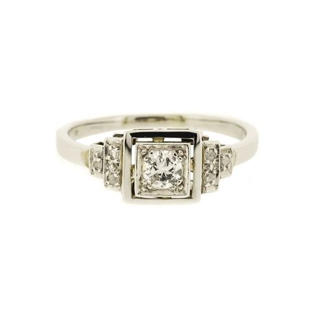 square deco style ring