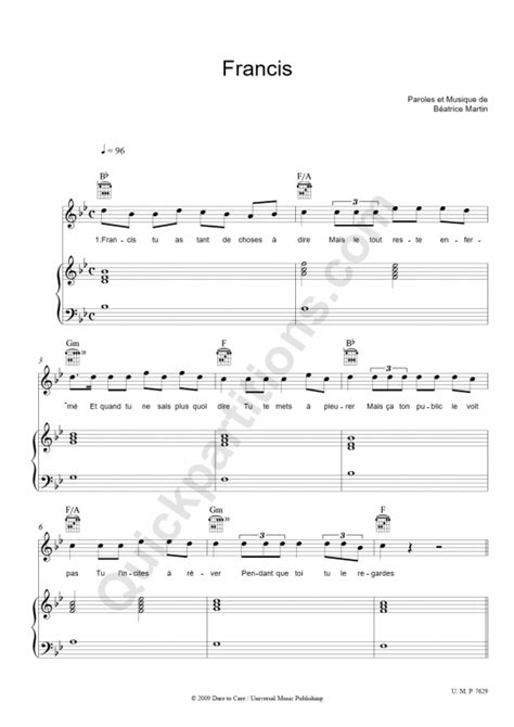 francis piano sheet music coeur de pirate digital sheet music