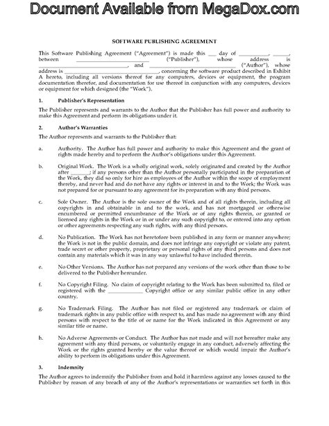 software publishing agreement template legal forms