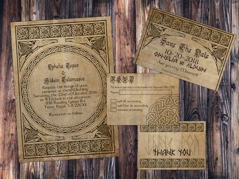 norse viking classy parchment wedding invitation save