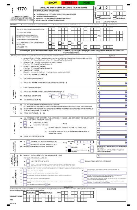 spt tahunan pph wajib pajak orang pribadi formulir 1770