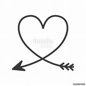 """silhouette of heart with arrow vector illustration"" Stock ..."