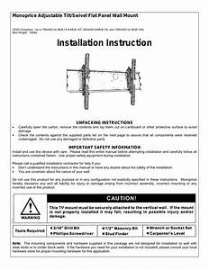 Monoprice 4174 Wall Mount Bracket User Manual
