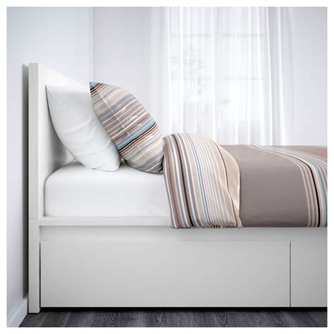 malm bed frame high w 4 storage boxes white lur 246 y