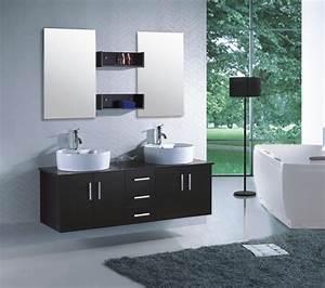 Meuble Salle De Bain Moderne : meuble de salle de bain double vasque suspendu ensemble ~ Nature-et-papiers.com Idées de Décoration