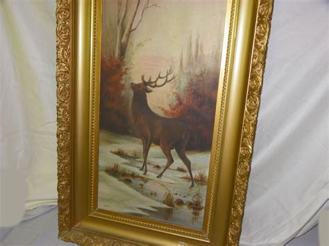 bargain johns antiques blog archive antique oil painting  buck stag deer  fall scene