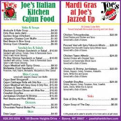 joes cajun menu high country press