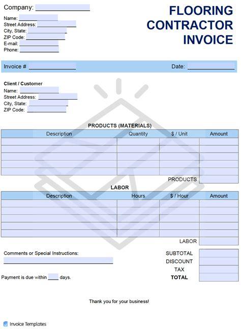 flooring contractor invoice template  word excel