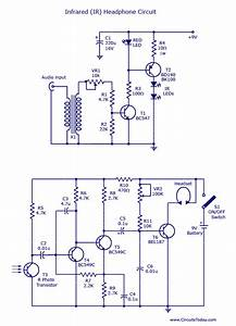 Ir Headset Circuit With Headphone Transmitter And Receiver