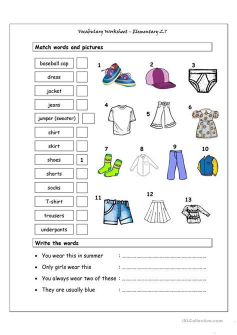 vocabulary matching worksheet elementary  clothes