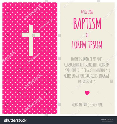 Baptism Invitation Template Bright Pink Gray Stock Vector