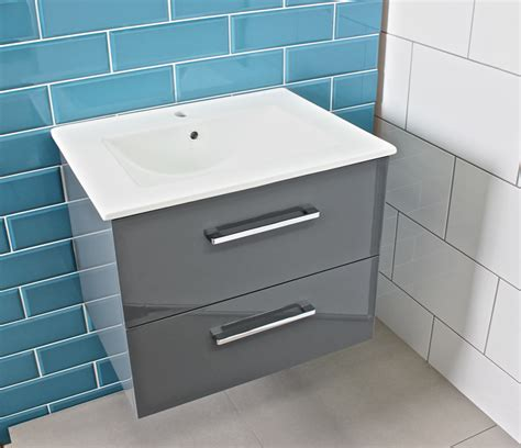 Modern Gloss Grey Bathroom Vanity Unit & Countertop Basin