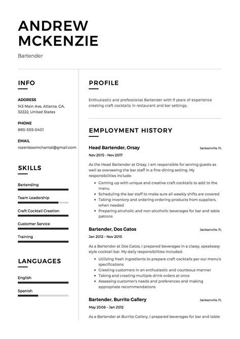 Bartender Resume Sample  12 Creative Resume Examples 2018