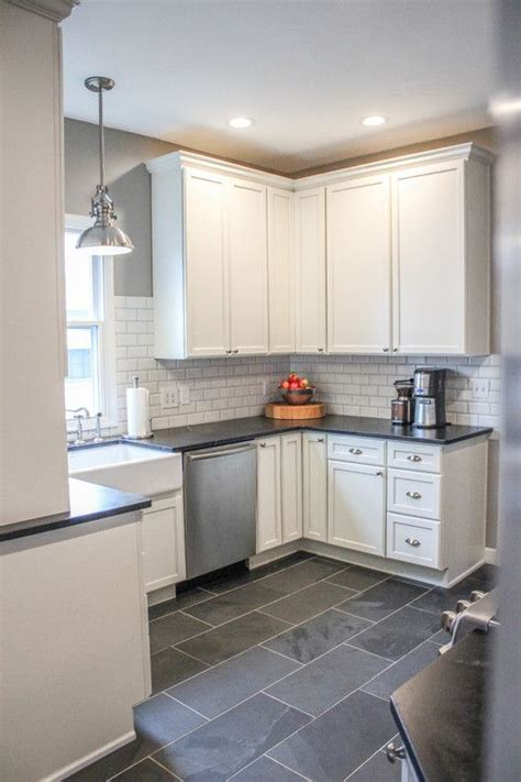 gray tile kitchen floor modern farmhouse kitchen gray tile floors white cabinets 8557