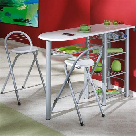 cuisine table bar table de bar quot frida quot 2 tabourets blanc 50901190 achat vente table de bar sur maginea com