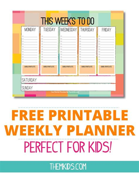 printable weekly planner  kids kid stuff