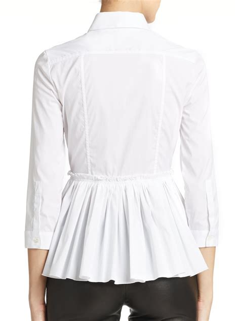 burberry blouse burberry stretch cotton pleated peplum blouse in white lyst