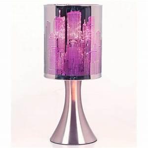 Lampe De Chevet Violet : lampe touch new york city avec variateur de lumi re mod le bleu maison fut e ~ Teatrodelosmanantiales.com Idées de Décoration