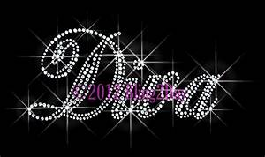 Quotdiva letters rhinestone iron on transfer hotquot for Bling letters
