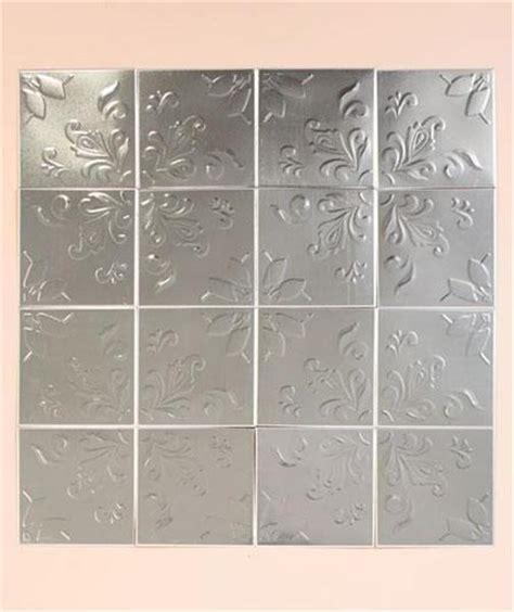self adhesive kitchen backsplash tiles set of 16 embossed self adhesive silver tin kitchen bath