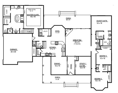 One Story Four Bedroom House Plans by Awesome Four Bedroom One Story House Plans New Home
