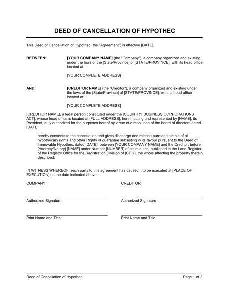 notice  cancellation  contract template sample