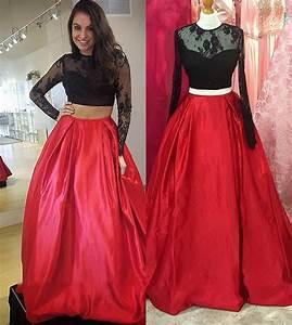 Unique Lace Two Piece A Line Prom Dresses 2017 Girls Satin ...