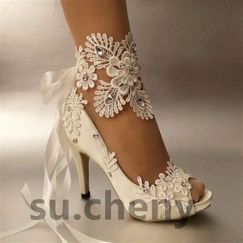 heel white ivory satin lace ribbon open toe wedding