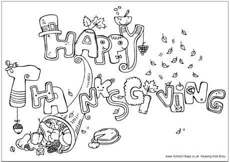 happy thanksgiving colouring page  images