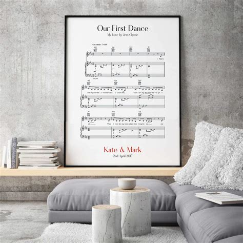Personalised First Dance Wedding Music Sheet Notes Print
