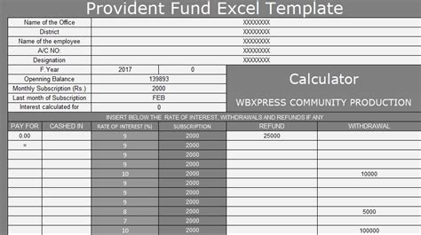 provident fund excel template xlstemplates