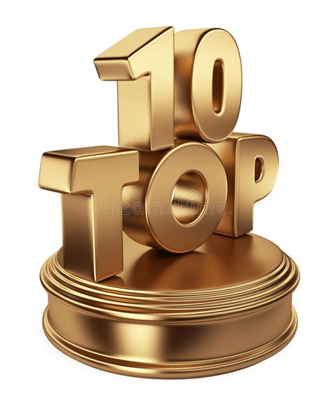 Top 10 On Podium 3d Icon Isolated Stock Illustration