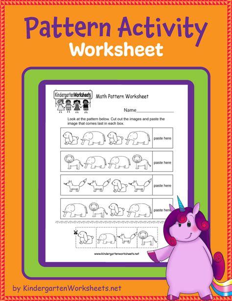 kindergarten pattern activity worksheet pattern