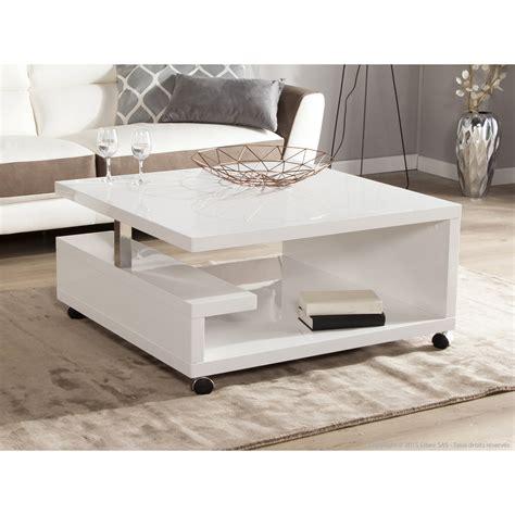 table 60x60 cuisine table basse carrée en bois laqué blanc hauteur 38 cm genes