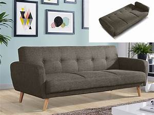 canape 3 places convertible tissu anthracite taupe maelo With tapis de gym avec canape taupe tissu