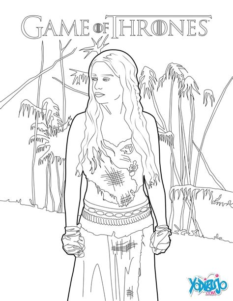 dibujos  colorear juego de tronos daenerys targaryen