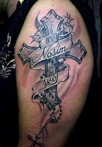 Kreuz Tattoo Arm : tattoo cross with scripture upper arm tattoo tattooed tattoos upper arm tattoos ~ Frokenaadalensverden.com Haus und Dekorationen