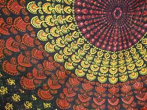 SALE Bohemian Hippie Fabric Starburst Pattern Black