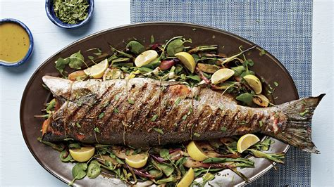 grilled salmon whole onions walla recipe fava leaves finecooking servings serves