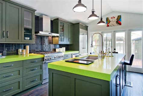 invigorating ways  decorate  green kitchen cabinets