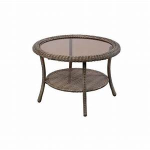 hampton bay spring haven grey round patio coffee table 65 With spring haven furniture home depot