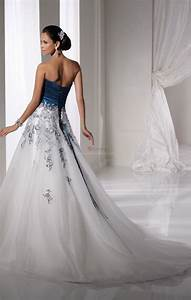tall white and blue wedding dress the back of a gorgeous With tall wedding dresses